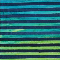 Robert Kaufman Navy Blue Green Stripe Tie Dye Batik Look Fabric Elementals