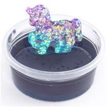 blaugrauer schleim mit glitter und einhorn in beh lter schleim slime kawaii shop modes4u. Black Bedroom Furniture Sets. Home Design Ideas