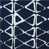 navy blue robert kaufman triangle tie dye batik look fabric mark to
