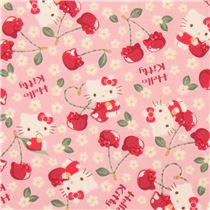 Tissu rose avec hello kitty et d 39 adorables cerises et des fleurs tissus hello kitty tissus - Armoire tissu hello kitty ...