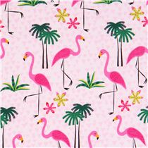 tissu rose avec des flamants roses et des palmiers par. Black Bedroom Furniture Sets. Home Design Ideas