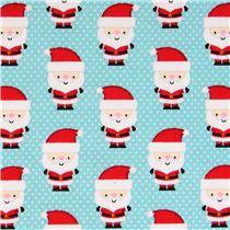 Tessuto Celeste Riley Blake Mini Babbo Natale 39 Santa