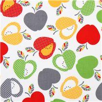 white \'Let\'s Eat\' apple fruit kitchen fabric Robert Kaufman USA ...