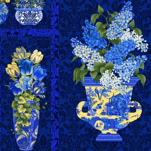Big Black Dark Blue Beautiful Blue Flower Vase Panel Fabric By Henry