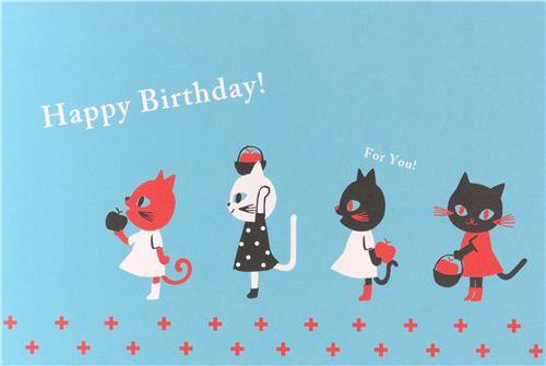 Blue Cat Apple Happy Birthday Postcard Birthday Card From Japan