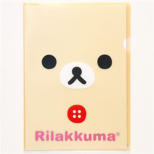 Carpeta Plástico Kawaii A4 Osos Rilakkuma De San-X