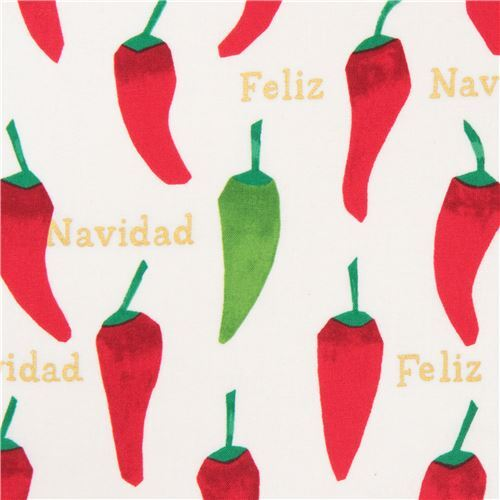 light cream alexander henry fabric chili pepper gold metallic feliz navidad