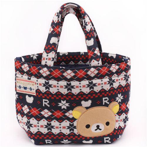 navy blue norwegian christmas san x rilakkuma handbag - Christmas Purses Handbags