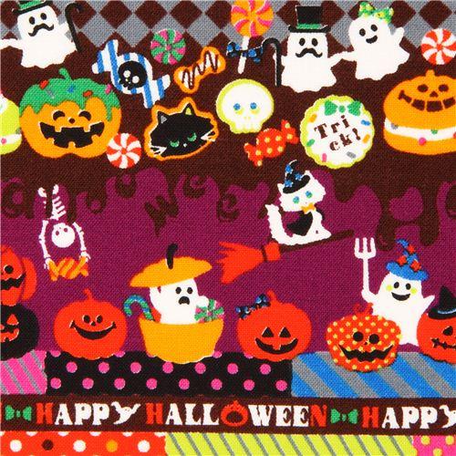 lila Cosmo Streifen Halloween Stoff Kürbis Geist Katze - Halloween ...