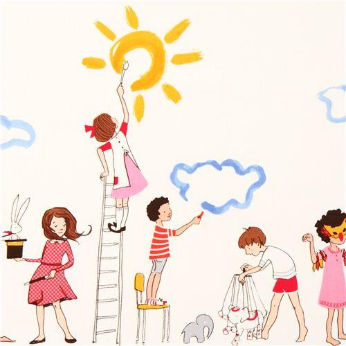 Tela blanca niños pintando de Michael Miller Make Believe - Telas ...