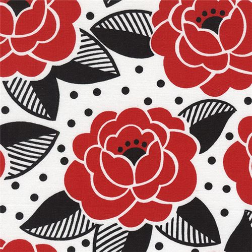 white red flower black leaf dot fabric by timeless treasures